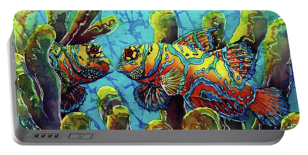 Mandarinfish Portable Battery Charger featuring the painting Mandarinfish by Sue Duda