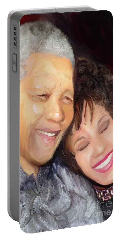 Black Art Portable Battery Charger featuring the painting Mandela And Whitney by Vannetta Ferguson