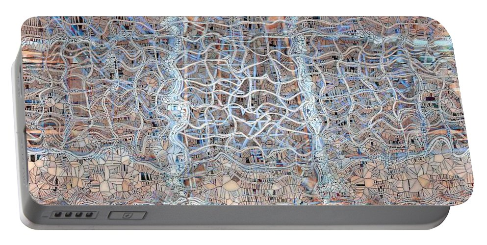 Abstract Portable Battery Charger featuring the digital art Mangled Wire by Ron Bissett