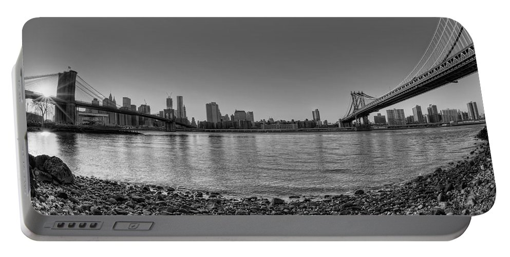 Bw Portable Battery Charger featuring the photograph Manhattan And Brooklyn Bridge Fisheye Bw by Michael Ver Sprill
