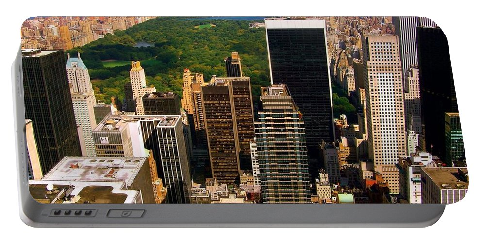 Manhattan Prints Portable Battery Charger featuring the photograph Manhattan And Central Park by Monique's Fine Art