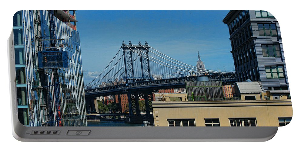 Wright Portable Battery Charger featuring the photograph Manhattan Bridge From Brooklyn by Paulette B Wright