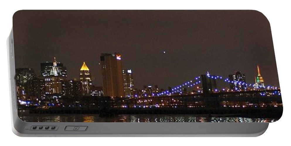 Downtown Portable Battery Charger featuring the photograph Manhattan Lit Up For The Super Bowl by John Wall