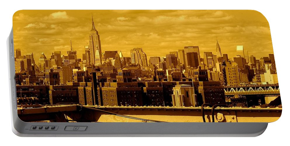 Manhattan Ny Prints Portable Battery Charger featuring the photograph Manhattan Skyline by Monique's Fine Art
