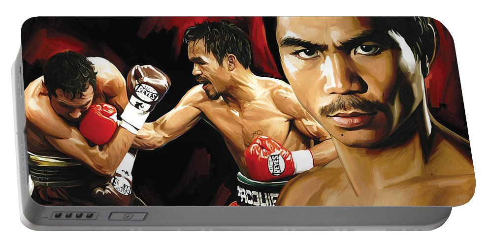 Manny Pacquiao Paintings Portable Battery Charger featuring the painting Manny Pacquiao Artwork 2 by Sheraz A