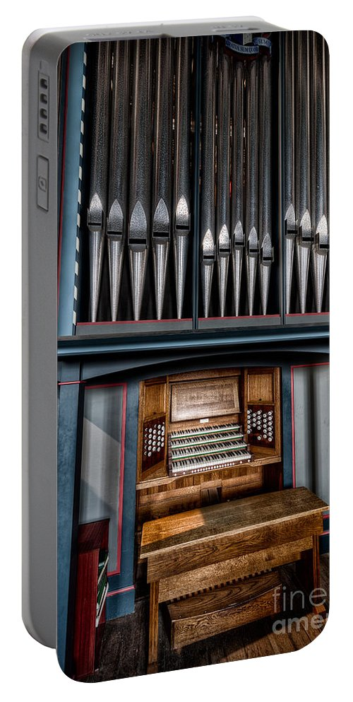 Organ Portable Battery Charger featuring the photograph Manual Pipe Organ by Adrian Evans