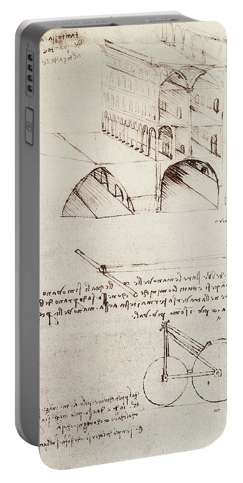 Leonardo Portable Battery Charger featuring the drawing Manuscript B F 36 R Architectural Studies Development And Sections Of Buildings In City With Raise by Leonardo Da Vinci