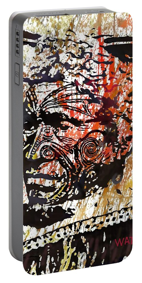 Indigenous Portable Battery Charger featuring the digital art Maori Warrior 1 by Marlene Watson