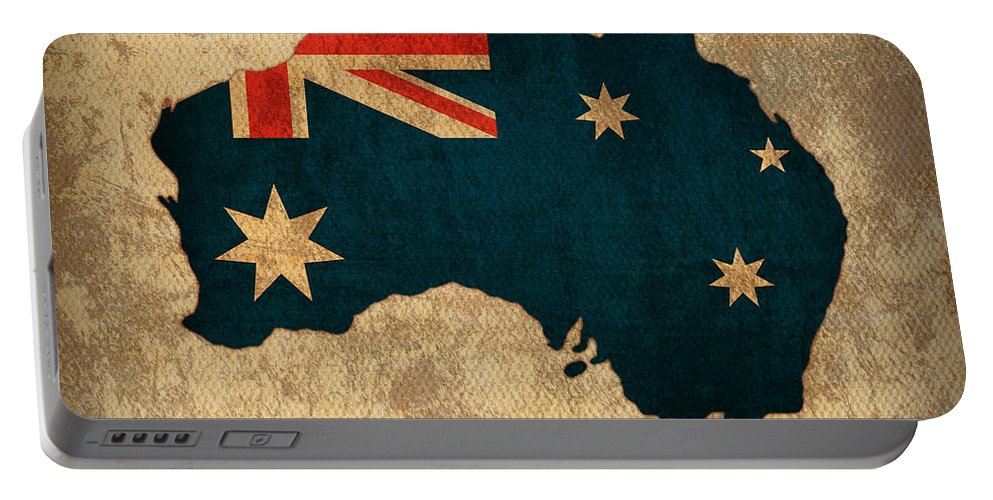 Map Of Australia With Flag Art On Distressed Worn Canvas Portable Battery Charger featuring the mixed media Map Of Australia With Flag Art On Distressed Worn Canvas by Design Turnpike