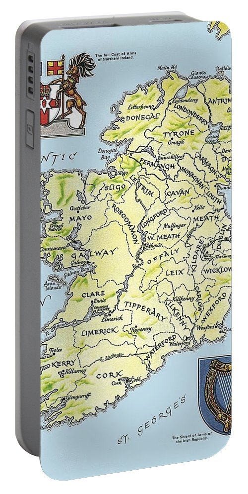 Coat Of Arms; Irish Portable Battery Charger featuring the painting Map of Ireland by English School