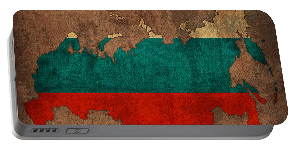 Map Of Russia With Flag Art On Distressed Worn Canvas Portable Battery Charger featuring the mixed media Map Of Russia With Flag Art On Distressed Worn Canvas by Design Turnpike