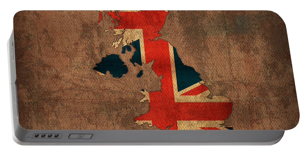 Map Of United Kingdom With Flag Art On Distressed Worn Canvas Portable Battery Charger featuring the mixed media Map Of United Kingdom With Flag Art On Distressed Worn Canvas by Design Turnpike