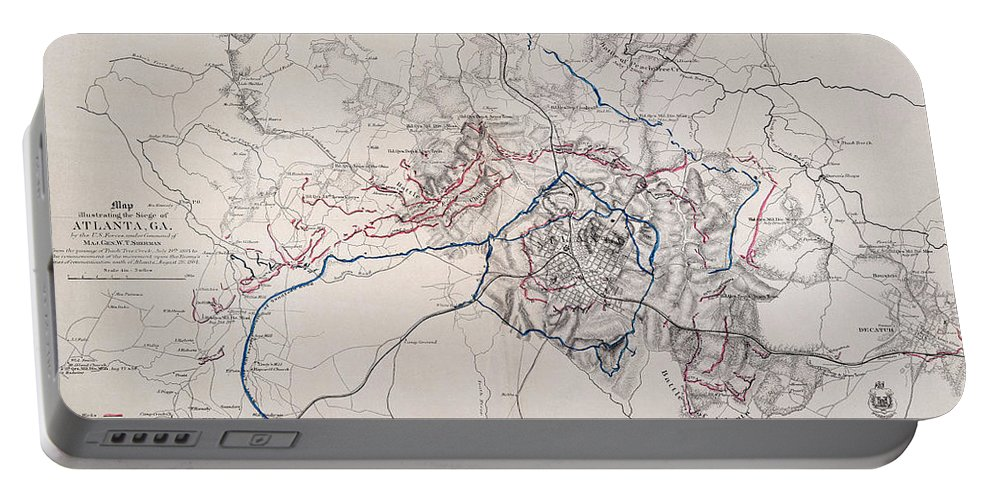 1864 Portable Battery Charger featuring the photograph Map: Siege Of Atlanta 1864 by Granger