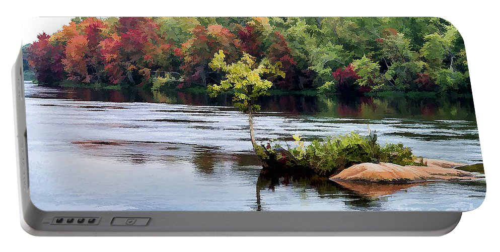 Small Portable Battery Charger featuring the photograph Maple Tree On A Rocky Island - V2 by Les Palenik