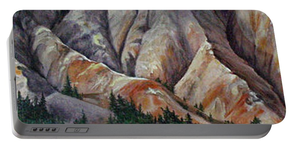 Mountains Portable Battery Charger featuring the painting Marble Ridge by Elaine Booth-Kallweit