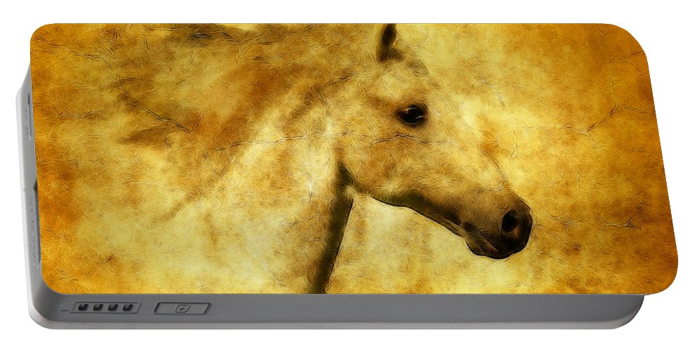 Horses Portable Battery Charger featuring the photograph Marbled War Horse by Athena Mckinzie