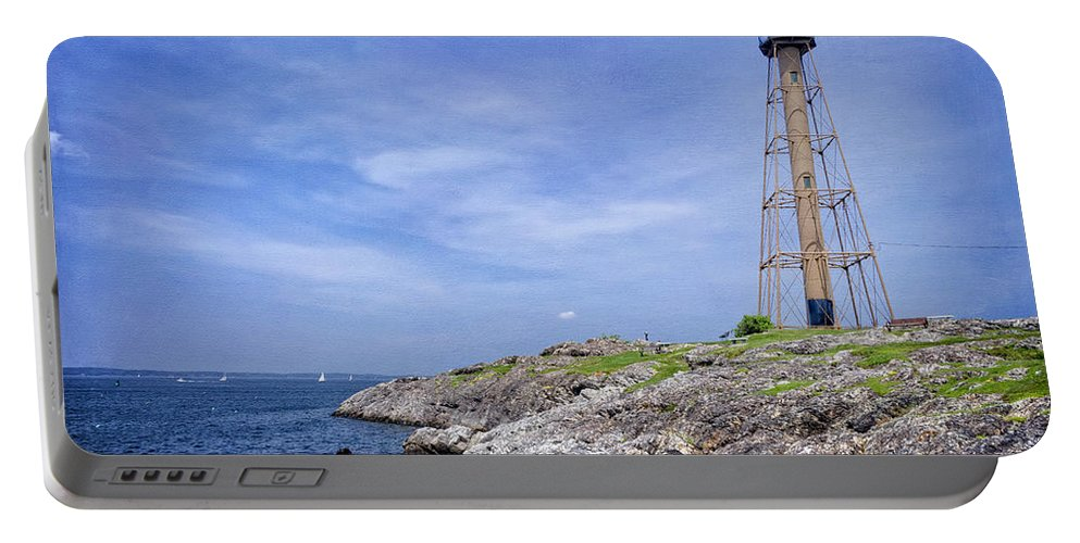 Rocks Portable Battery Charger featuring the photograph Marblehead Light by Joan Carroll