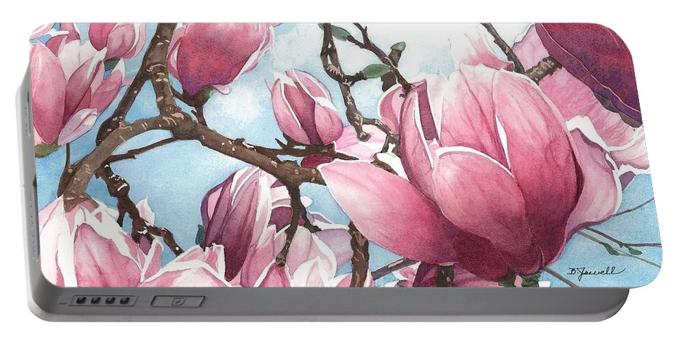 Flowers Portable Battery Charger featuring the painting March Magnolia by Barbara Jewell