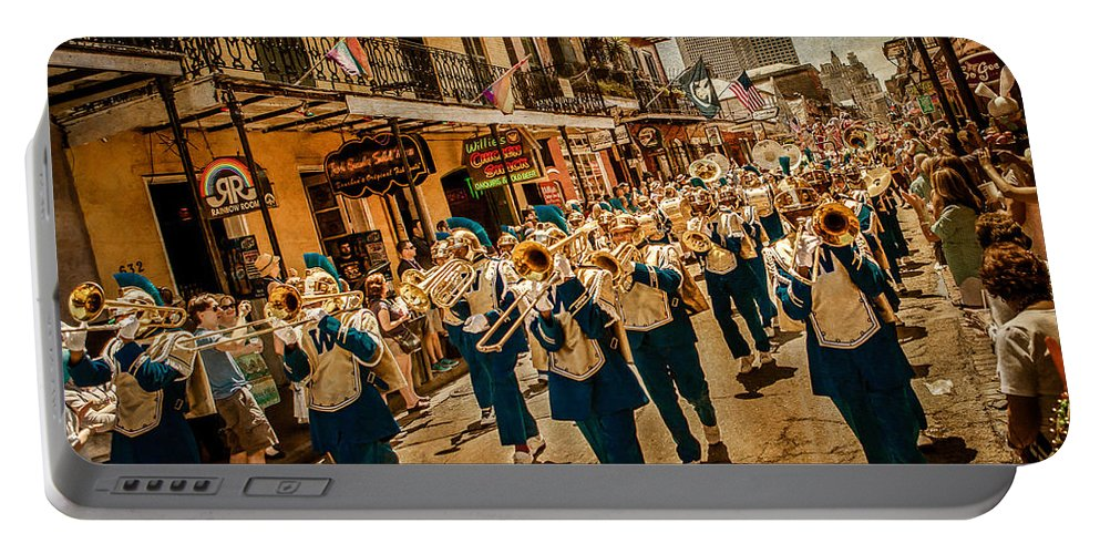 Blue And Gold Portable Battery Charger featuring the photograph Marching Band by Melinda Ledsome