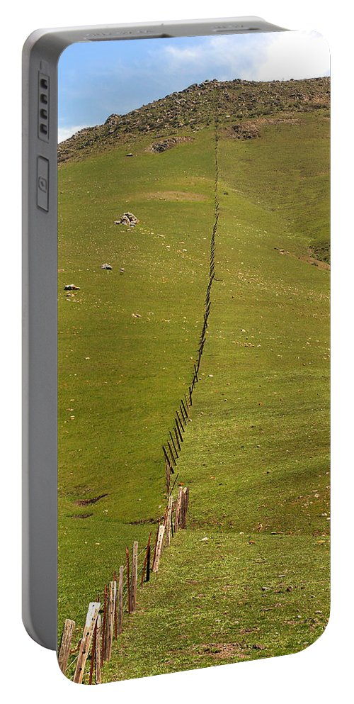San Luis Obispo Portable Battery Charger featuring the photograph Marching Fence by Art Block Collections