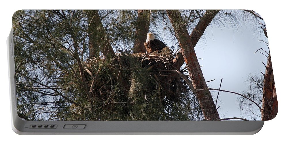Naples Portable Battery Charger featuring the photograph Marco Eagle - Protecting Its Nest by Ronald Reid
