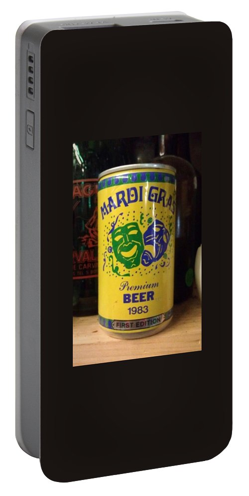 Mardi Gras Portable Battery Charger featuring the photograph Mardi Gras Beer 1983 by Deborah Lacoste