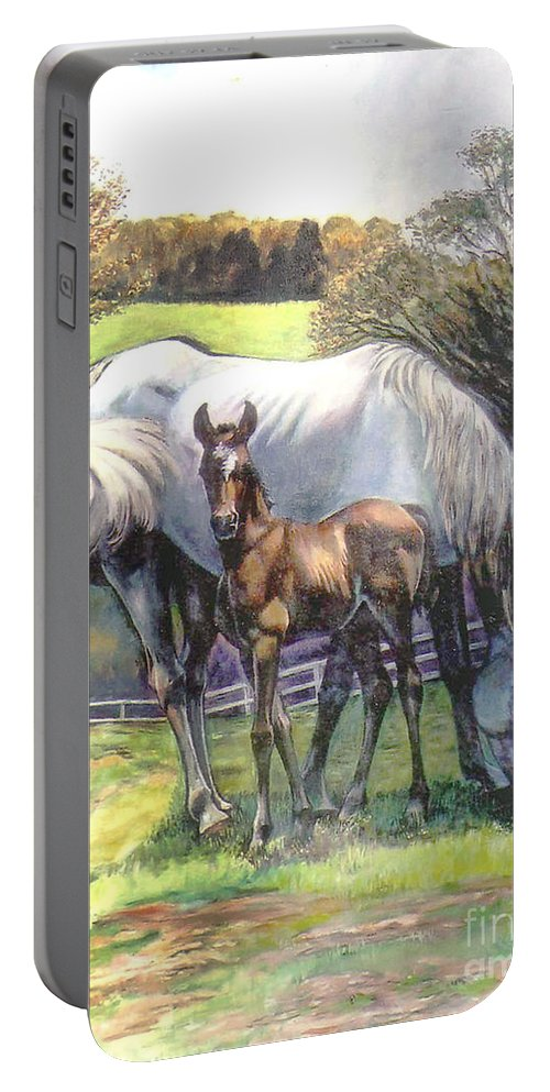 Horse Portable Battery Charger featuring the painting Mare And Foal by Stan Esson