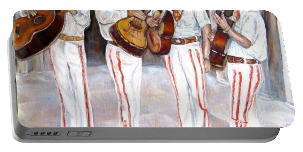 Mariachis Portable Battery Charger featuring the painting Mariachi Musicians by Carole Spandau