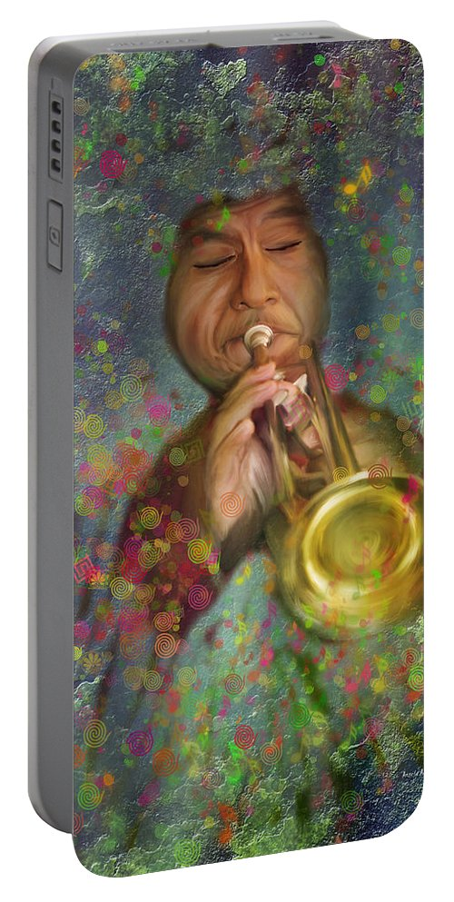Mariachi Portable Battery Charger featuring the painting Mariachi Trumpet Player by Angela Stanton