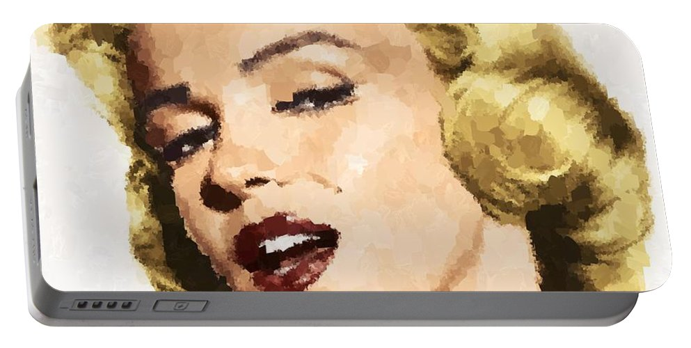 Marilyn Portable Battery Charger featuring the painting Marilyn Monroe 08 by Samuel Majcen