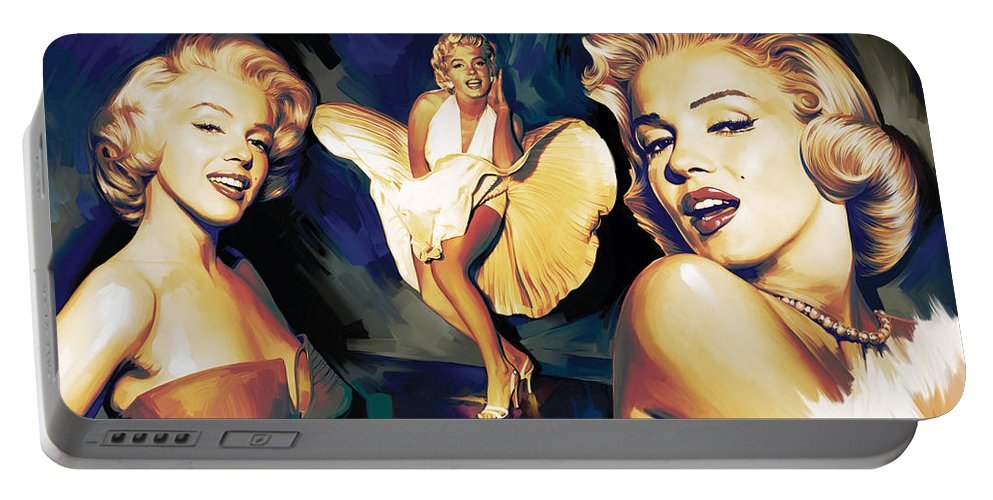 Marilyn Monroe Paintings Portable Battery Charger featuring the painting Marilyn Monroe Artwork 3 by Sheraz A