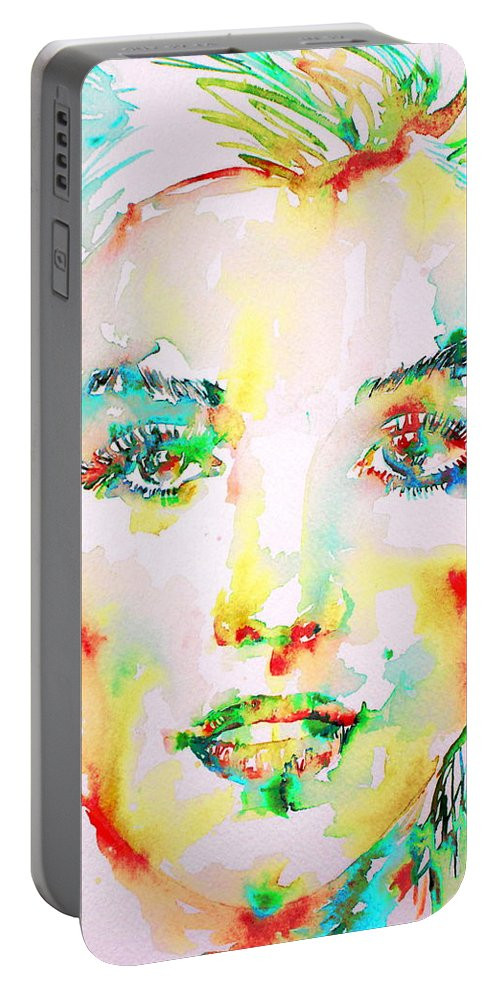 Marilyn Portable Battery Charger featuring the painting Marilyn Monroe Portrait.5 by Fabrizio Cassetta