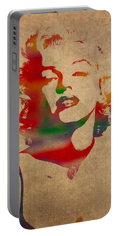 Marilyn Monroe Watercolor Portrait On Worn Distressed Canvas Portable Battery Charger featuring the mixed media Marilyn Monroe Watercolor Portrait On Worn Distressed Canvas by Design Turnpike