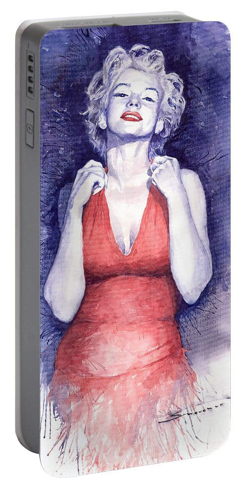 Watercolour Portable Battery Charger featuring the painting Marilyn Monroe by Yuriy Shevchuk