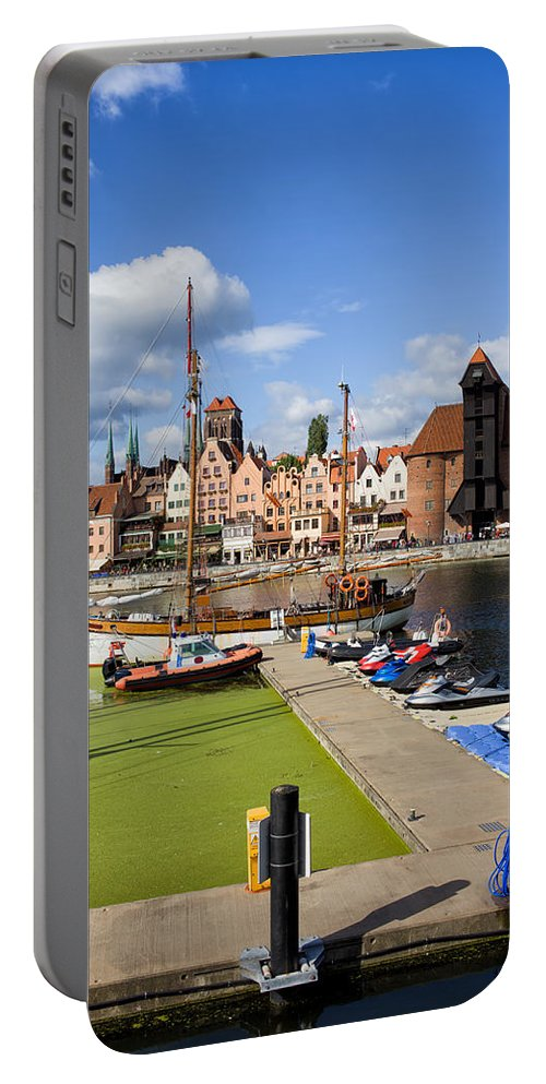 Gdansk Portable Battery Charger featuring the photograph Marina And Old Town Of Gdansk Skyline by Artur Bogacki