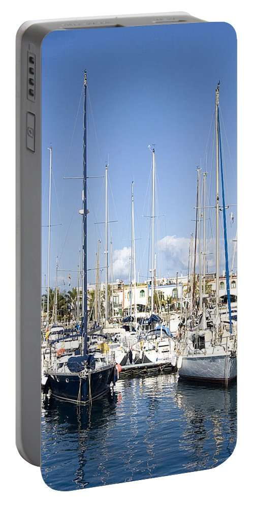 Canary Islands Portable Battery Charger featuring the photograph Marina Gran Canaria by Peter Lloyd
