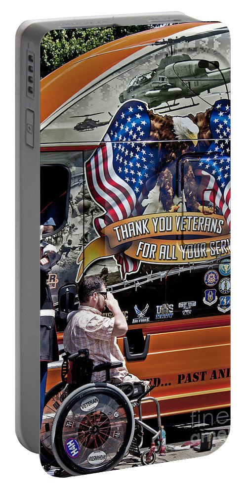 Memorial Day Portable Battery Charger featuring the photograph Marine And Wounded Warrior by Tom Gari Gallery-Three-Photography