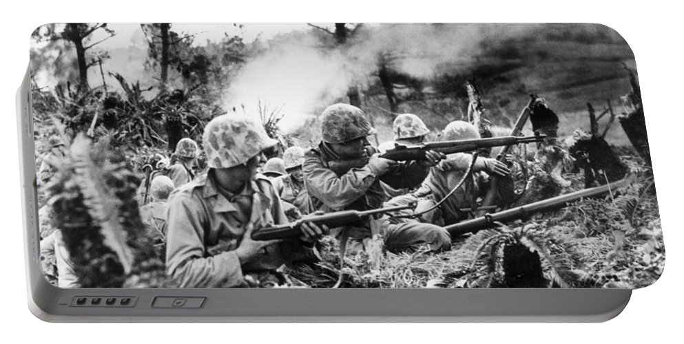 1940s Portable Battery Charger featuring the photograph Marines In Okinawa by Underwood Archives