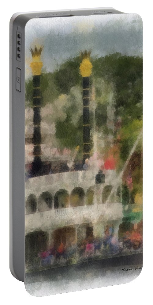Disney Portable Battery Charger featuring the photograph Mark Twain Riverboat Frontierland Disneyland Vertical Photo Art 01 by Thomas Woolworth