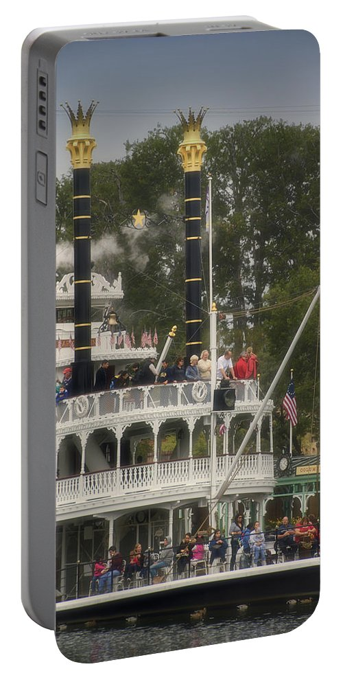 Disney Portable Battery Charger featuring the photograph Mark Twain Riverboat Frontierland Disneyland Vertical by Thomas Woolworth