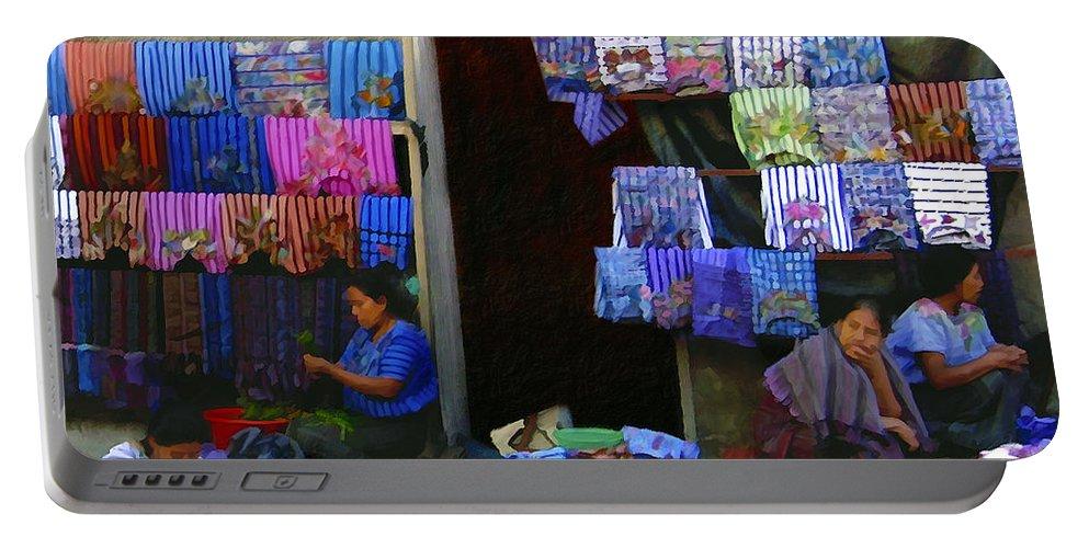 Market Portable Battery Charger featuring the photograph Market At Santiago Atitlan Guatemala by Kurt Van Wagner