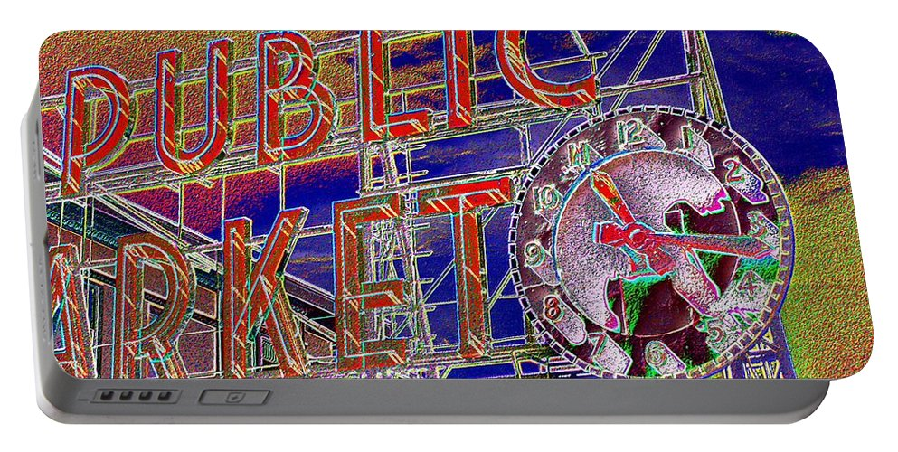 Seattle Portable Battery Charger featuring the digital art Market Clock 1 by Tim Allen