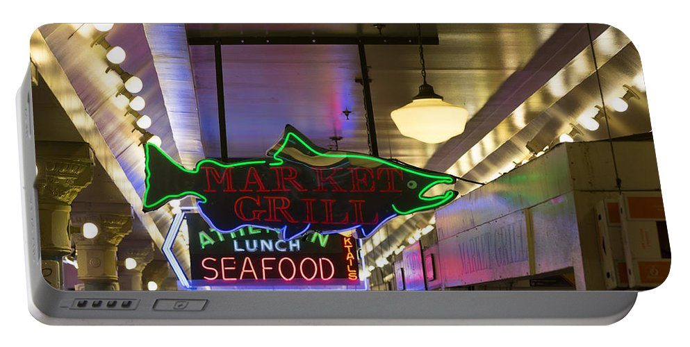 Sign Portable Battery Charger featuring the photograph Market Grill by Scott Campbell