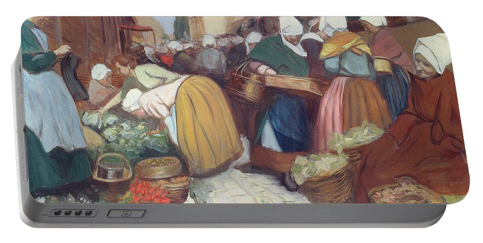 French Portable Battery Charger featuring the painting Market In Brest by Fernand Piet