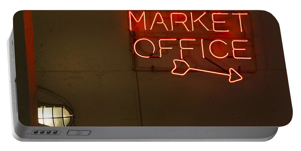 Sign Portable Battery Charger featuring the photograph Market Office To The Right by Scott Campbell