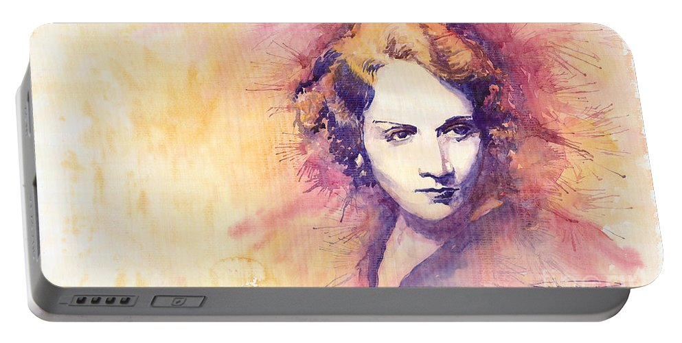 Watercolour Painting Portable Battery Charger featuring the painting Marlen Dietrich 1 by Yuriy Shevchuk