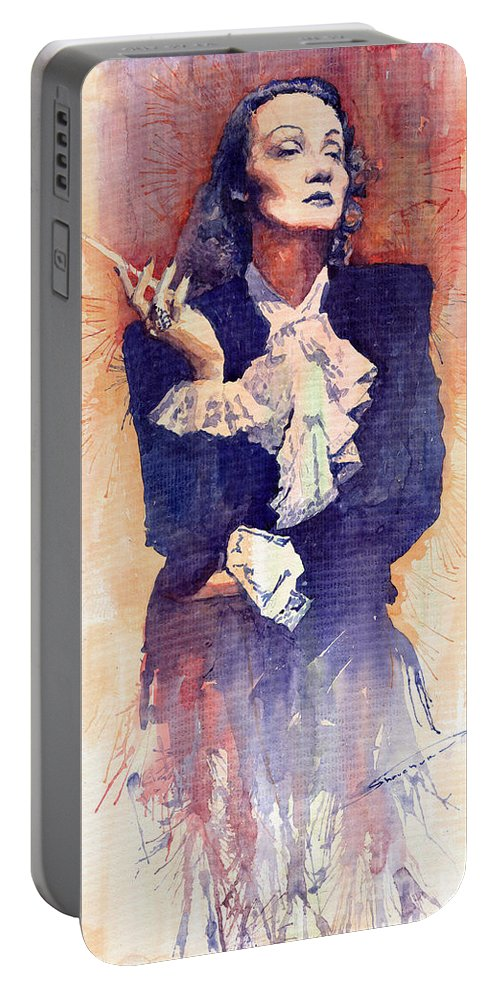 Watercolour Portable Battery Charger featuring the painting Marlen Dietrich by Yuriy Shevchuk