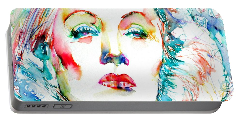 Marlene Dietrich Portable Battery Charger featuring the painting Marlene Dietrich - Colored Pens Portrait by Fabrizio Cassetta