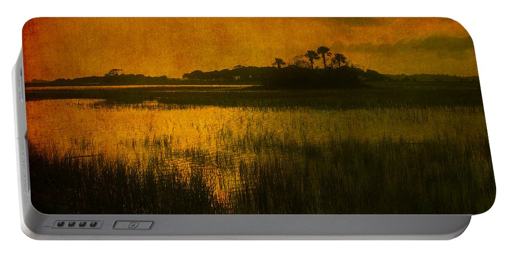Marsh Scene Portable Battery Charger featuring the photograph Marsh Island Sunset by Susanne Van Hulst