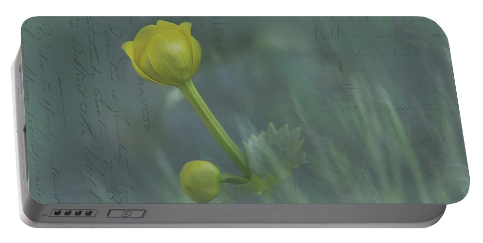 Flower Portable Battery Charger featuring the photograph Marsh Marigold Bud by Fran Gallogly
